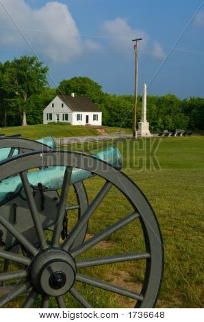 Dunker Church And Civil War Cannon