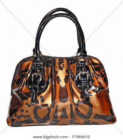 patent tiger handbag
