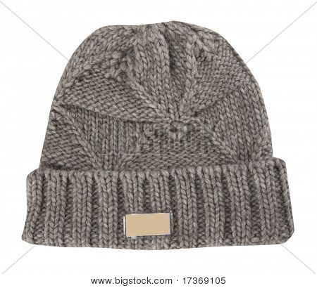 gray warm woolen knitted winter hat