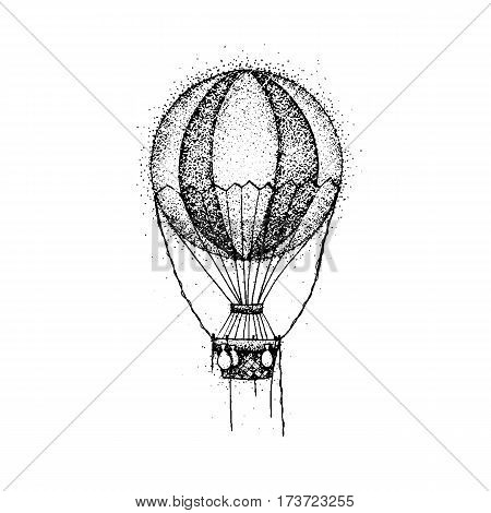 dotwork hot air balloon vector illustration of t shirt design travel tattoo hand