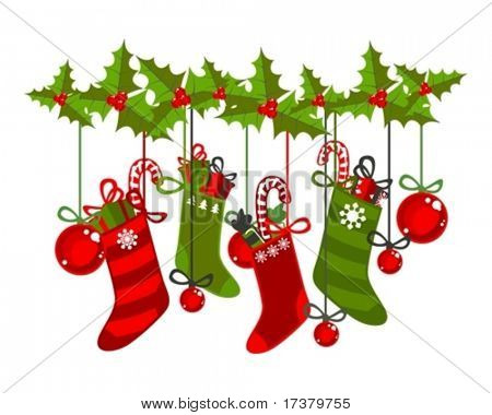 illustration of christmas socks on a white background