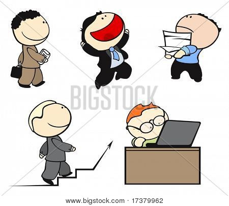 Set of office workers in different situations #2