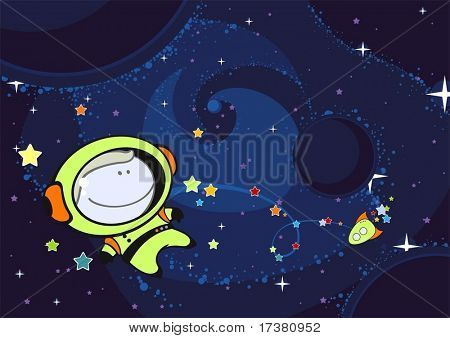 Little astronaut in an open space