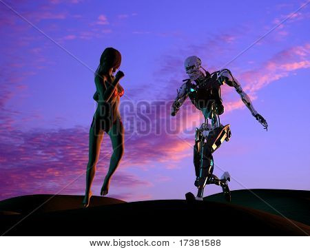 The sexual woman with cyborg on a mirror background