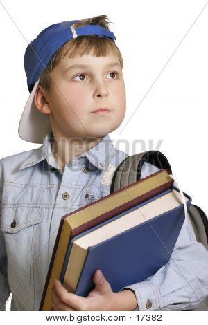 Junge, Bücher, Tasche