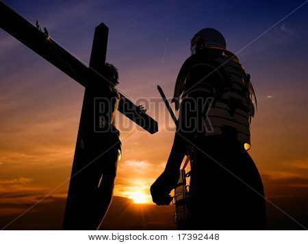 Silhouette warrior about the crucified Jesus