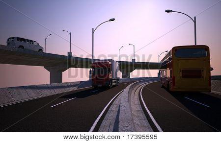 Vehicular traffic on the highway skyline