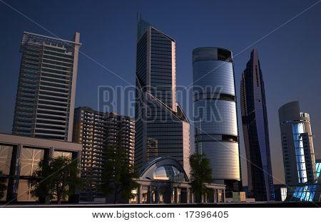 Rascacielos de la ciudad moderna en tierra