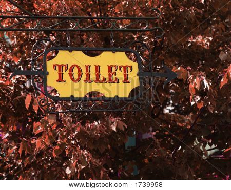 Yellow Old-Fashioned Toilet Sign