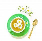 Постер, плакат: Chamomile Tea In Cup Isolated On White Background
