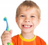 stock photo of toothless smile  - smiley boy without one teeth with toothbrush isolated on white background - JPG