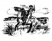 stock photo of broncos  - Cowboy On Horseback  - JPG