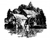 foto of log cabin  - Grist Mill  - JPG