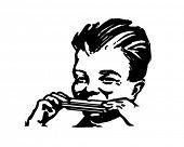 Постер, плакат: Мальчик играет гармоника ретро клипарт иллюстрация