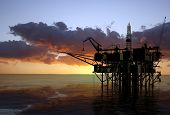 pic of oil rig  - Oil Rig at late evening - JPG