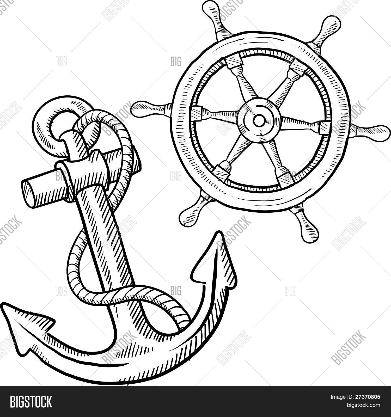 how to draw a ship anchor