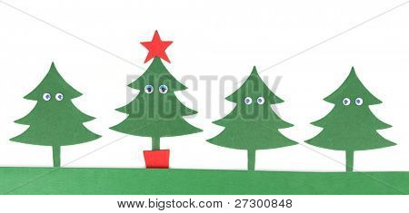 Christmas trees made from paper