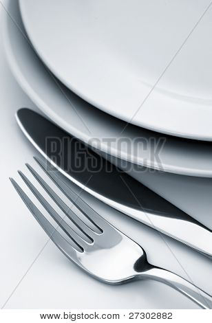 fork and knife, plate,dual tone