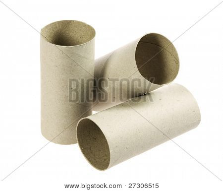 Toilet paper rolls,Isolated on white with clipping paths.