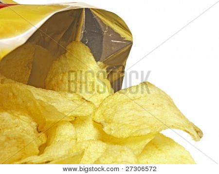 Bag of Potato Chips,isolated on white with clipping path