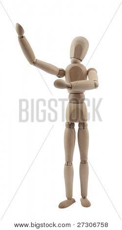Wooden figure artist,isolated on white with clipping path.