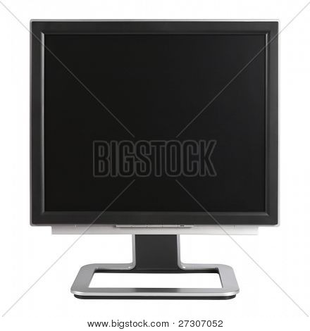 Computer Monitor with blank black screen,isolated on white with clipping path.