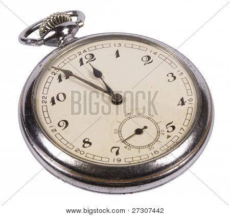 old pocket watches, isolated on white