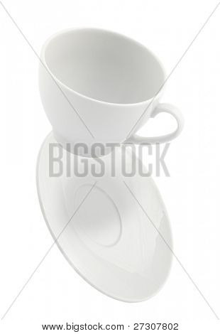 falling coffee cup  and saucer,  isolated on white background