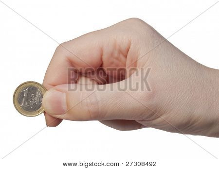 Hand holds the coin 1 euros, isolated on a white background