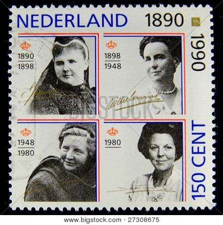 NETHERLANDS - CIRCA 1990: A stamp printed in the Netherlands shows the Royal family, circa 1990