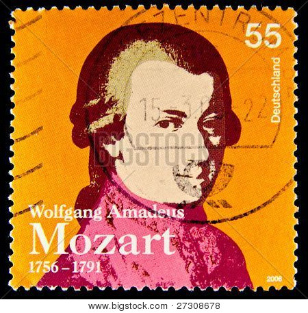 GERMANY - CIRCA 2006: a stamp printed in Germany shows image of Wolfgang Amadeus Mozart and commemorates his 250th birthday, circa 2006