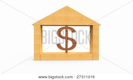 Gold dollar and house model