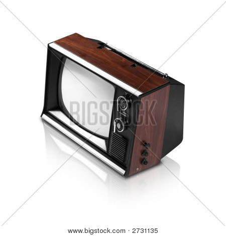 Old Television (With Clipping Path And Reflection)