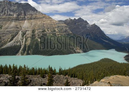 Glacier-Fed Lake In The Canadian Rockies