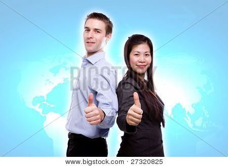 Portrait of young business man and business woman on world map