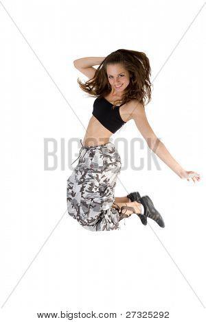 girl dancing of joy over white