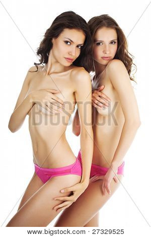 Two beautiful naked  women Isolated