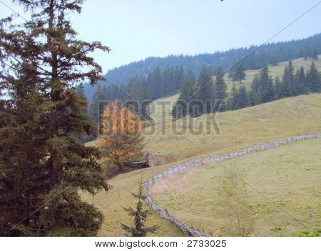 Wooden  Fence  In Mountains
