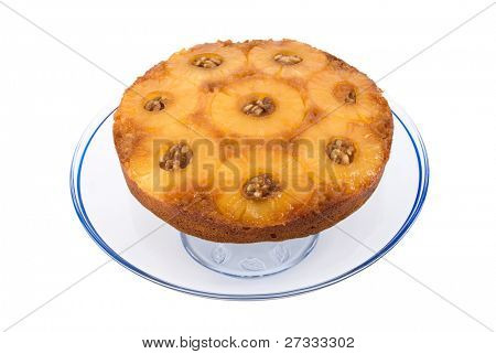 Golden delicious pineapple upside down cake with walnuts