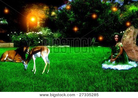 Enchanted garden, fairy and animals during evening time