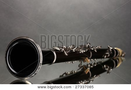 beautiful clarinet on a gray background