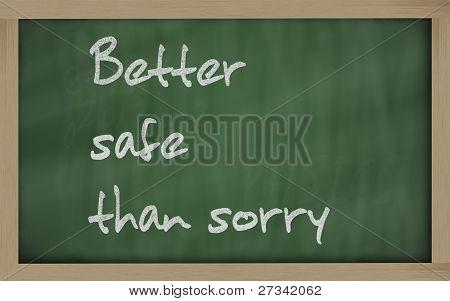 """""""   Better Safe Than Sorry """" Written On A Blackboard"""