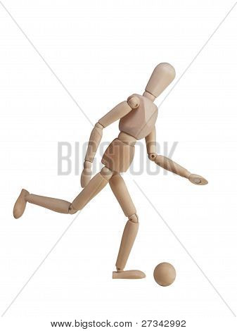 Wooden Models Playing Football