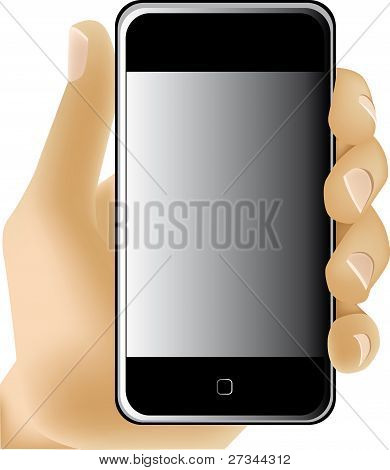 Mobile phone in a man's hand. Vector illustration.