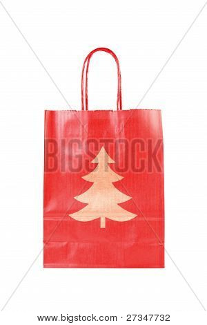 Red  Paper Bag With Christmas Tree Symbol