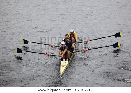 Penn A.C. Rowing Association Mens Fours races in the Head of Charles Regatta
