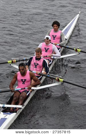 Yale University Mens Fours races in the Head of Charles Regatta