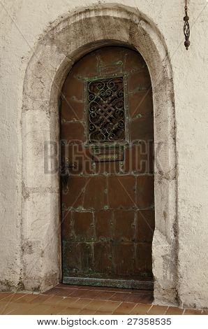 Old Oxidated Copper Entrance Door With Verdigris