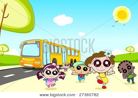 illustration of kids running in front of school bus