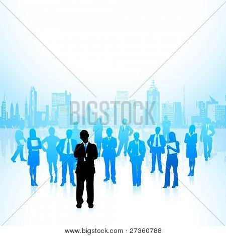 illustration of leader standing in front of corporate crowd